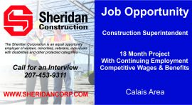 Job Opportunity - Construction Superintendent, Calais, Maine