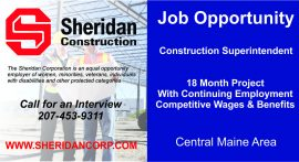 Job Opportunity - Construction Superintendent, Central Maine Area