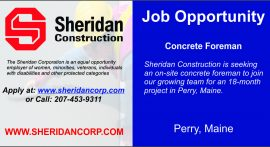Job Opportunity - Concrete Foreman, Perry, Maine